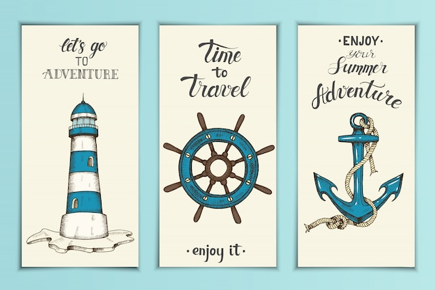 Vintage nautical banners with hand drawn vector anchor, Premium Vector