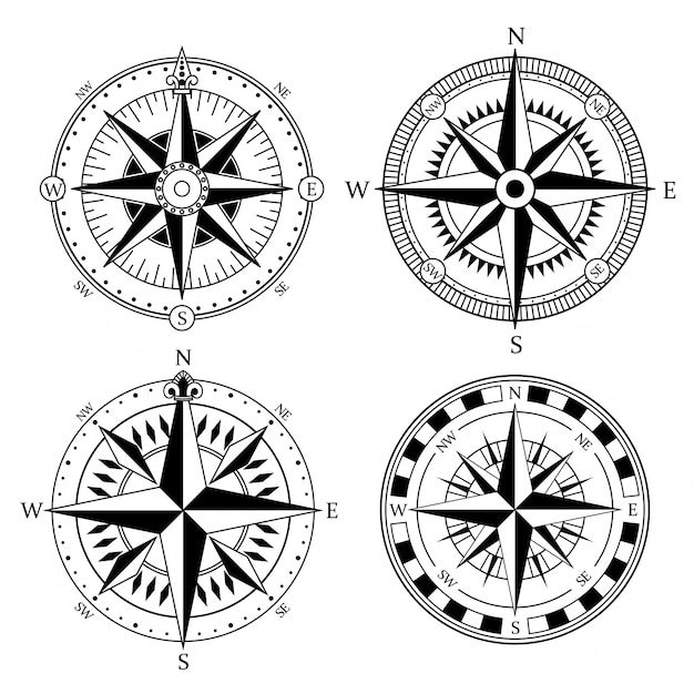 Vintage nautical compass signs Premium Vector