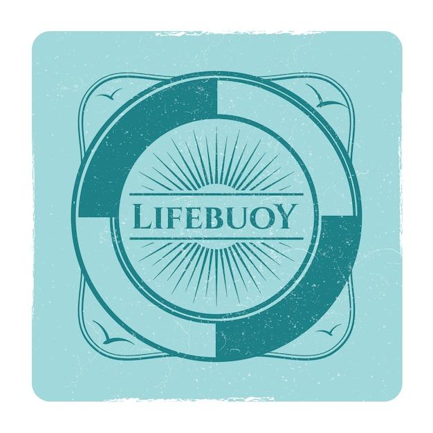 Vintage nautical grunge label with lifebuoy Premium Vector