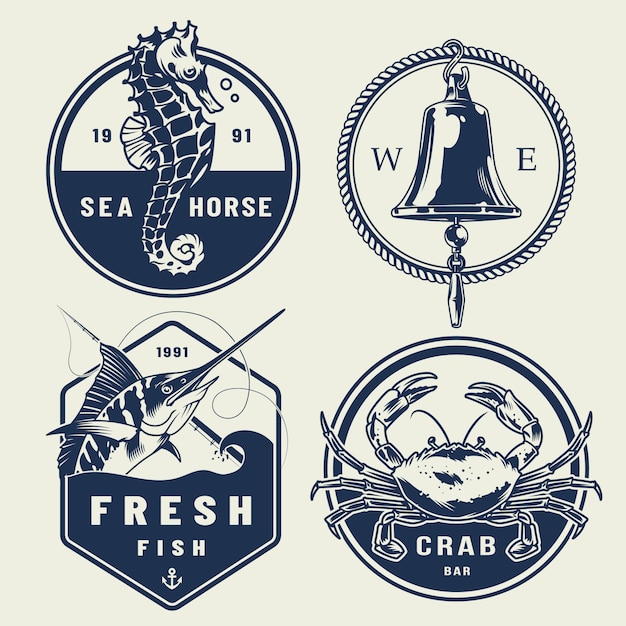 Vintage nautical labels collection Free Vector