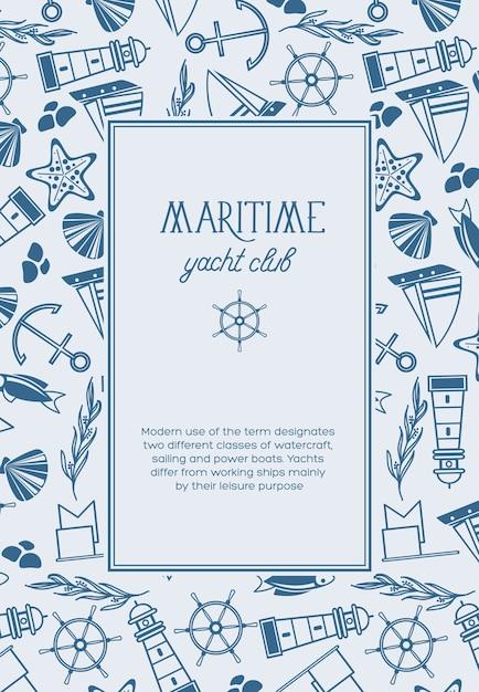 Старинный морской световой плакат с текстом в прямоугольной рамке и рисованными морскими элементами Бесплатные векторы