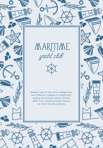 Vintage nautical light poster with text in rectangular frame and hand drawn marine elements Free Vector