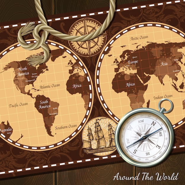 Vintage nautical map compass background Free Vector