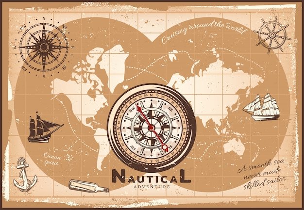 Vintage nautical world map template Free Vector