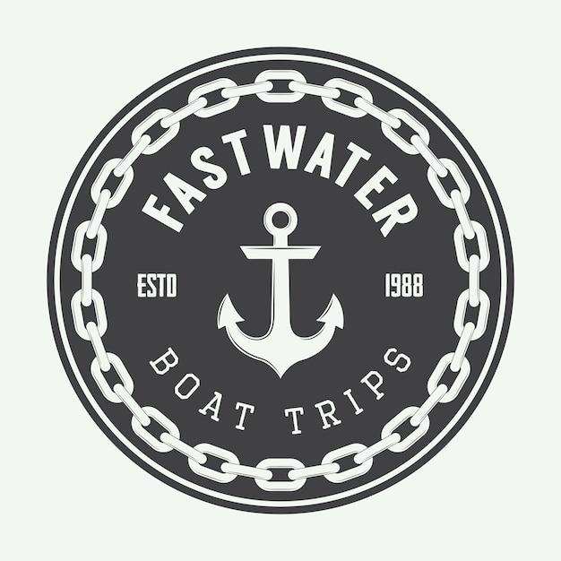 Vintage navy logo Premium Vector