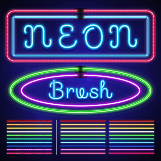 Vintage neon electric stroke custom pattern brushes, casino and xmas light border Premium Vector