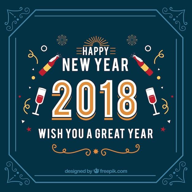 vintage new year 2018 background in dark blue free vector