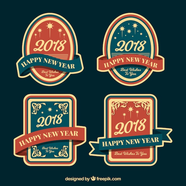 vintage new year 2018 badge collection in blue and red free vector