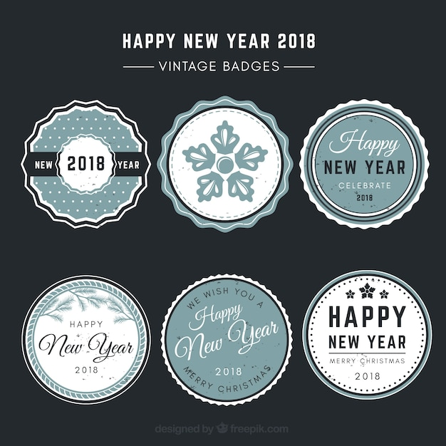 vintage new year 2018 badge collection in blue free vector