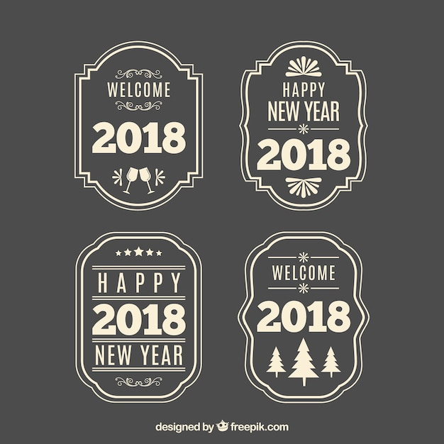 vintage new year 2018 badge collection in grey free vector