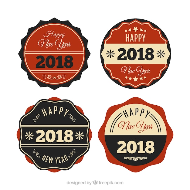 vintage new year 2018 badge collection in red and black free vector