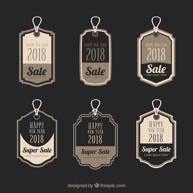vintage new year 2018 label collection in black free vector