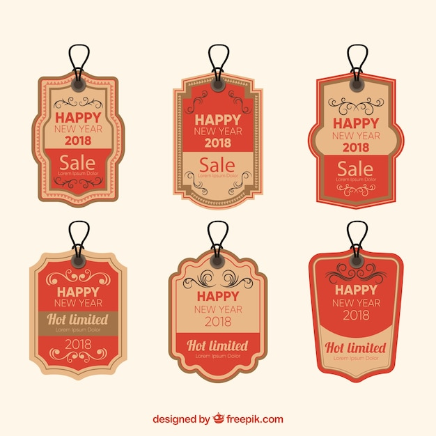 vintage new year 2018 label collection in red free vector