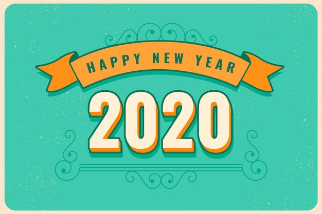 Vintage new year 2020 background Free Vector