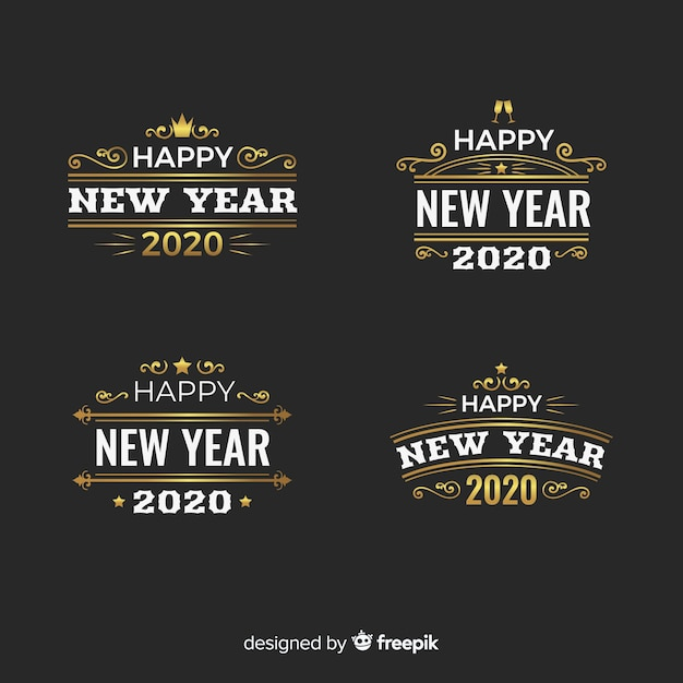 Vintage new year 2020 badge collection Free Vector