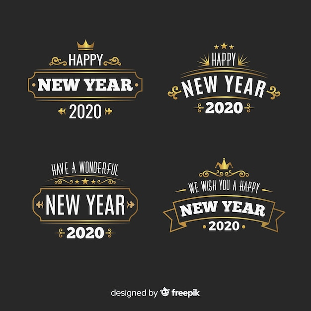 Vintage new year 2020 label collection Free Vector