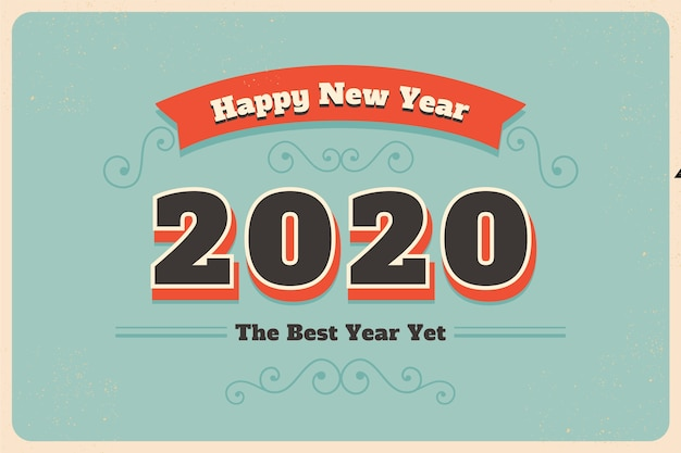 Free Vector Vintage New Year 2020 Wallpaper