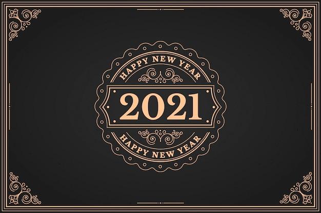 Винтаж новый год 2021 фон Бесплатные векторы