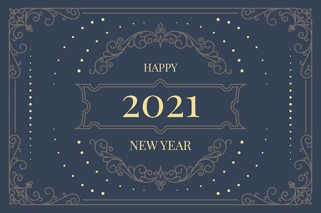 Sfondo vintage nuovo anno 2021 Vettore gratuito