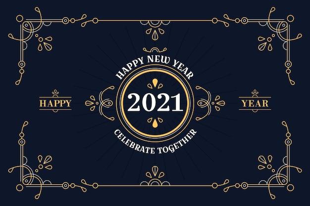 Concetto d'annata del nuovo anno 2021 Vettore gratuito