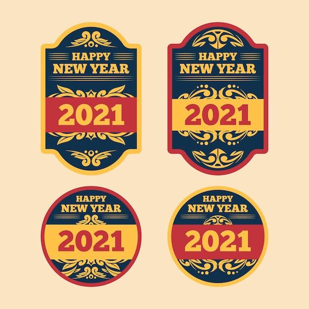 Collezione di etichette vintage del nuovo anno 2021 Vettore gratuito