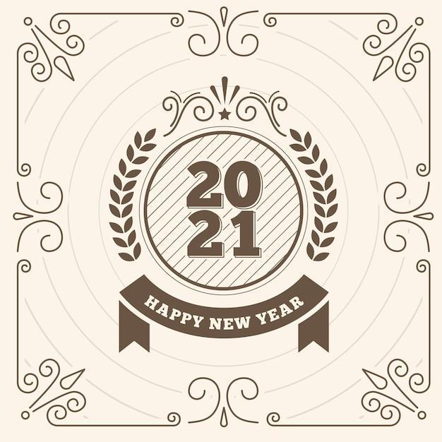Vintage capodanno 2021 Vettore gratuito