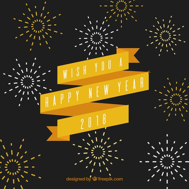 vintage new year background with a yellow ribbon free vector