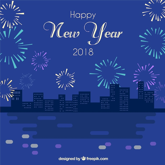 vintage new year background with night city and fireworks free vector