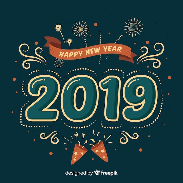 Vintage new year background Free Vector