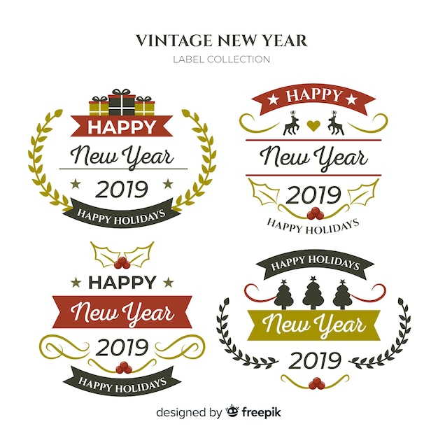 vintage new year label collection free vector