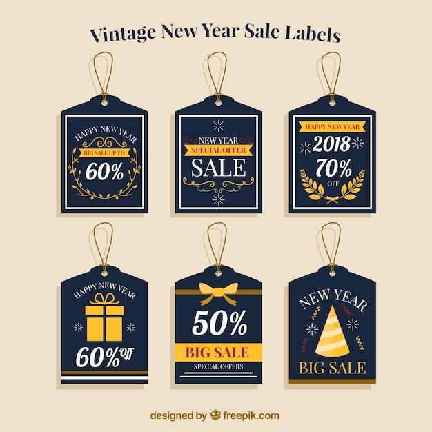 Vintage new year sale labels