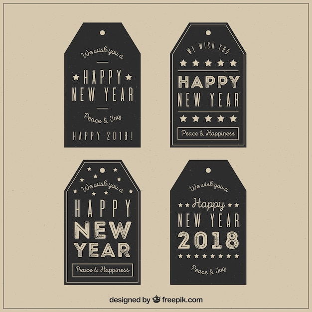 Vintage new year tags in black