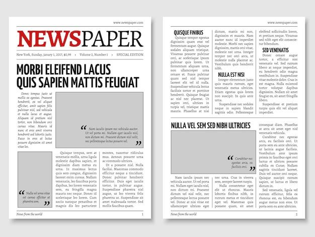Vintage newspaper journal vector template Premium Vector