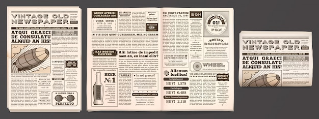 Vintage newspaper mockup, retro newsprint pages, tabloid magazine and old news isolated 3d  template Premium Vector