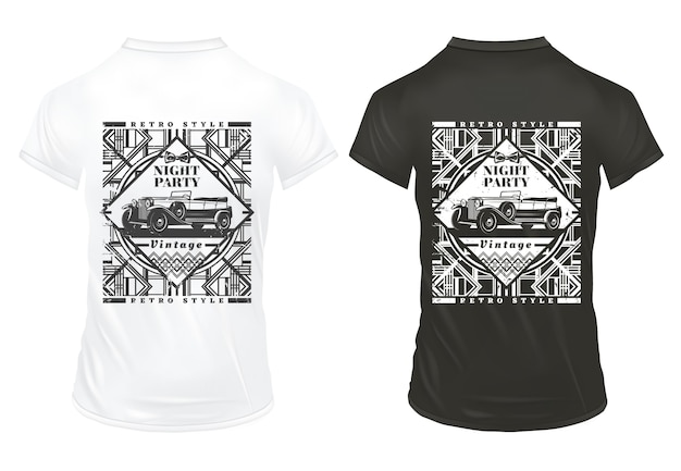Vintage night party stampa modello con scritta automobile classica e trafori retrò geometrici su camicie isolate Vettore gratuito