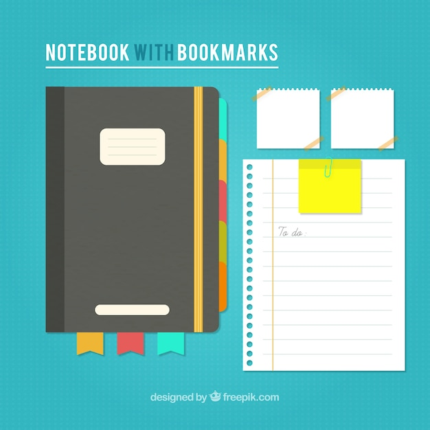 Vintage notebook and sheets Free Vector