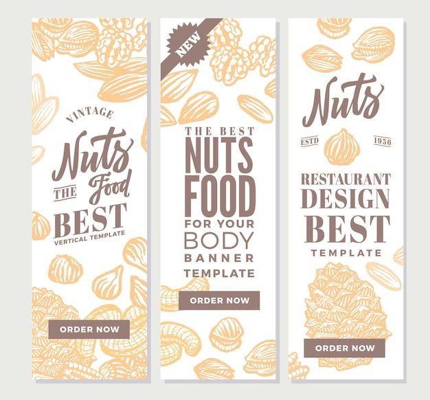 Винтажные орехи еда вертикальные баннеры Бесплатные векторы