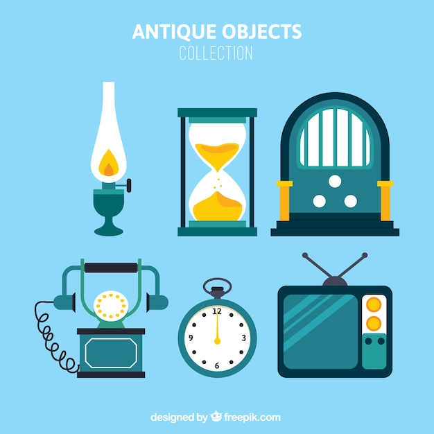 Vintage objects pack in flat design Free Vector