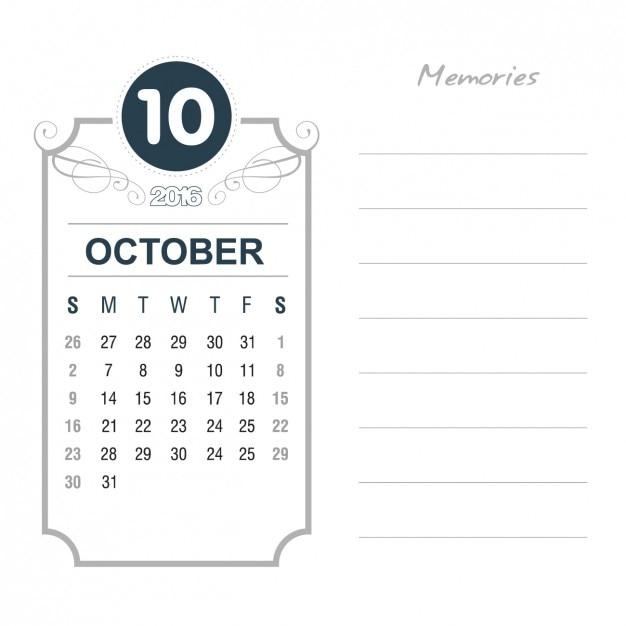 Vintage October Calendar 2016