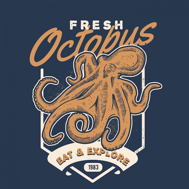Vintage octopus handdraw style seafood Premium Vector