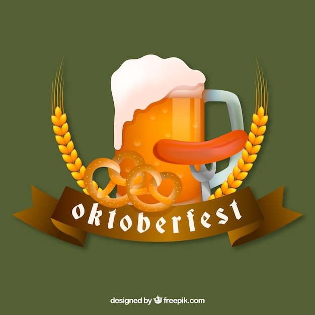 Vintage oktoberfest background with traditional food and drink