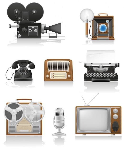Vintage and old art equipment video photo phone recording tv radio writing vector illustration Premium Vector