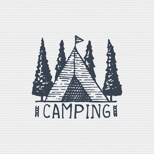 Vintage old logo or badge, label engraved and old hand drawn style with camping tent Premium Vector