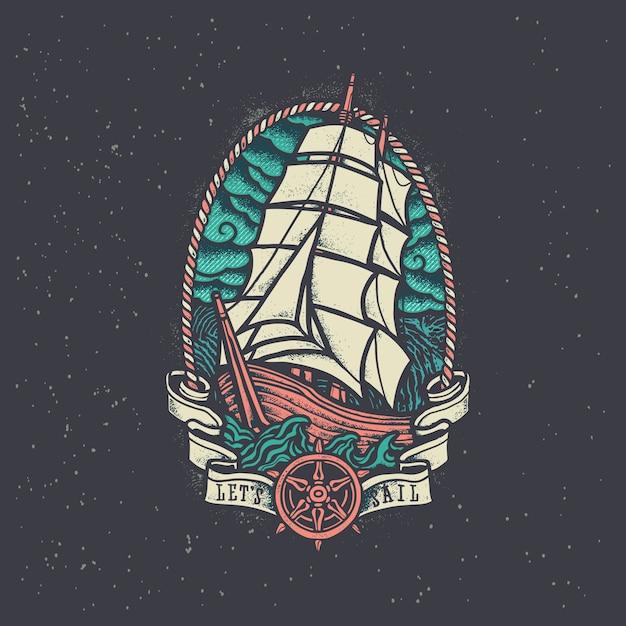 Старинные пиратские корабли Premium векторы