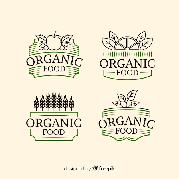 Vintage organic food label collection Free Vector