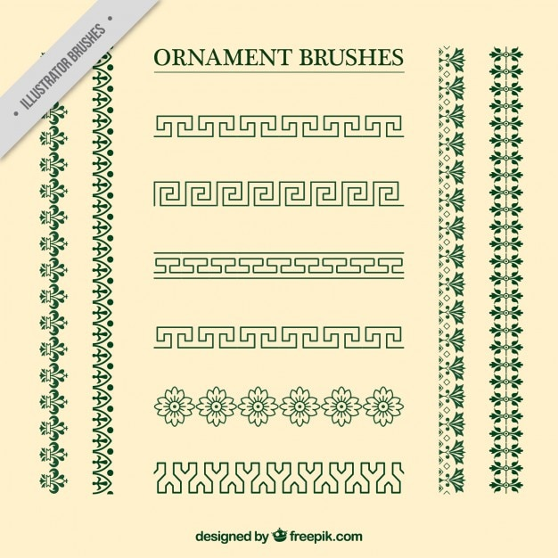 Vintage ornament brushes collection Free Vector