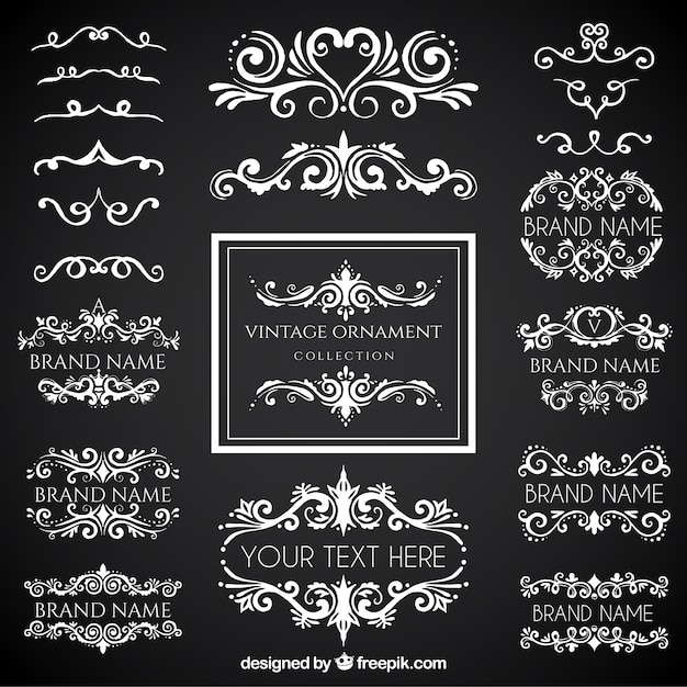 Vintage ornament collection with blackboard style Free Vector