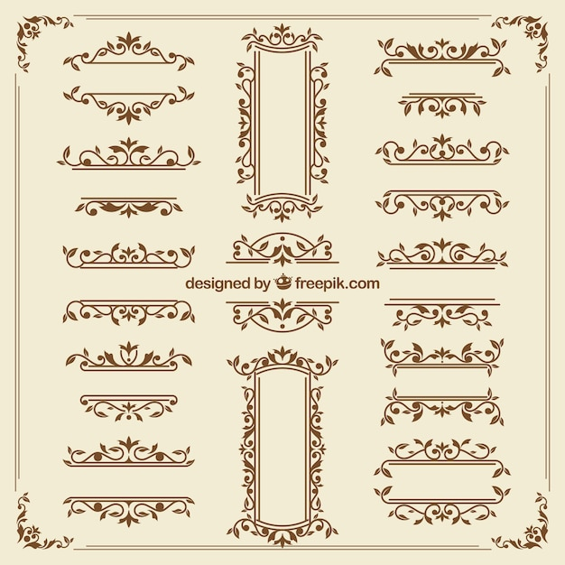 Vintage ornament collection with elegant style Free Vector