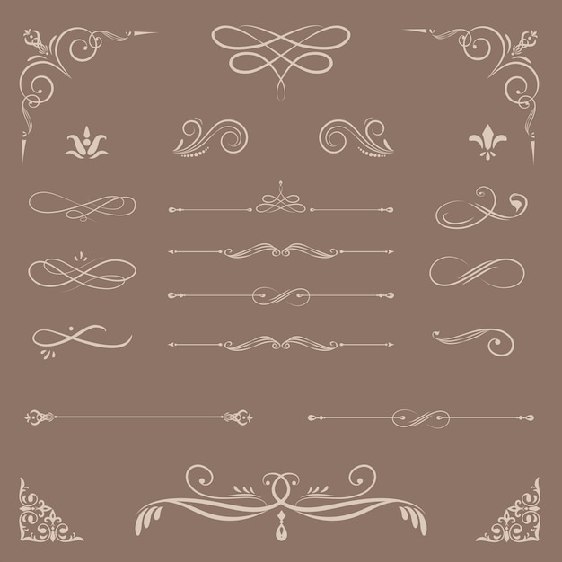 Vintage ornamental design elements Free Vector