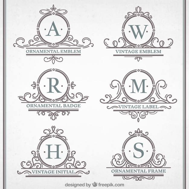 Vintage Ornamental emblems Collection Premium Vector